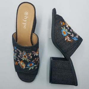 Hype Embroidered Denim Open Toe Block Heel Mules